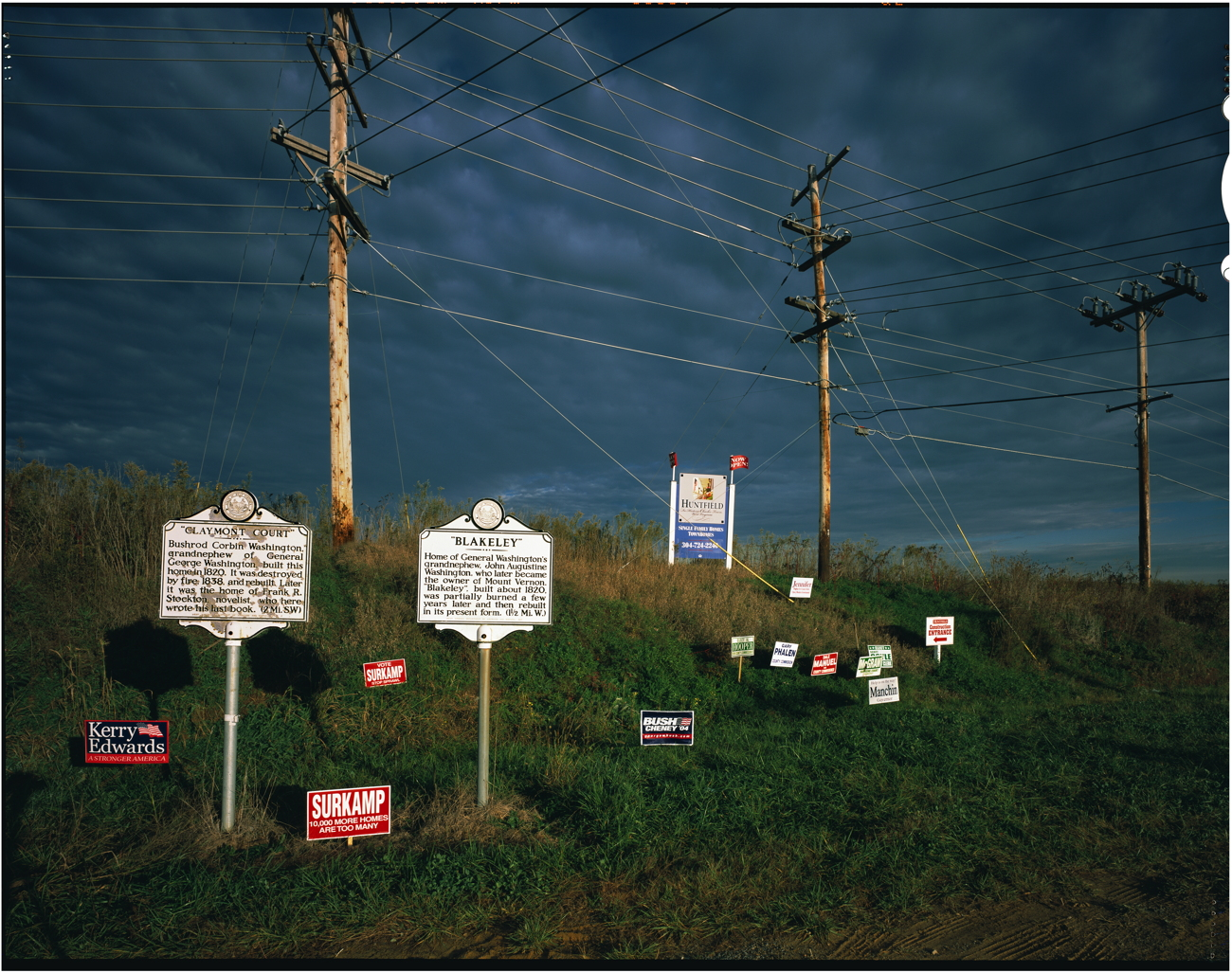 Roadside historical markers, and election signs, Charles City, West Virginia, 2004