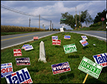 Election signs and historical marker, Shepherdstown, West Virginia, 2004