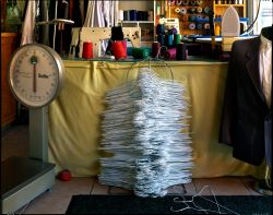Stacked wire hangars, tailor shop, New York City, 2014