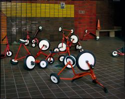 Students' tricycles, P.S. 47, New York City, 2015