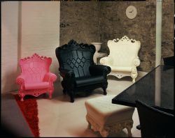 Molded polyurethane chairs, furniture store basement, New York City, 2015